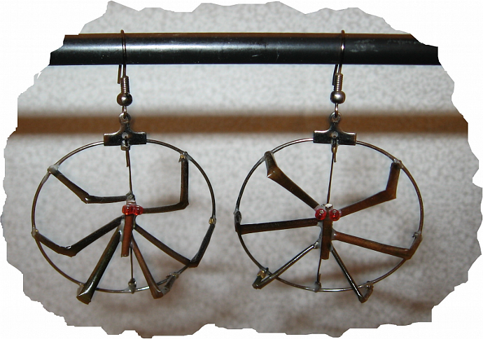 NEW Black Red Porcupine Quill Glass Spider Earrings