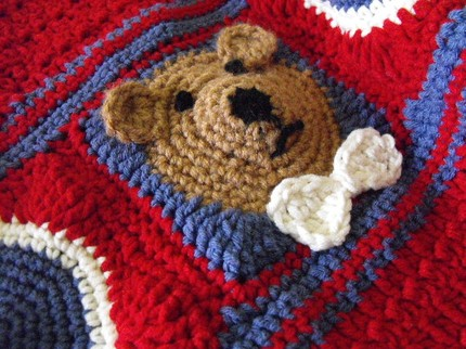 UN-BEAR-ABLY ADORABLE PATRIOTIC TEDDY BEAR AFGHAN