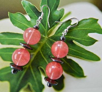 Cherry  quartz  and  hematite  dangle  earrings