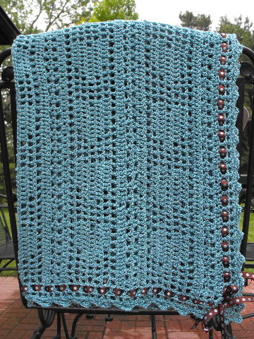 CARIBBEAN BLUE BABY AFGHAN WITH HEARTS AND RIBBON