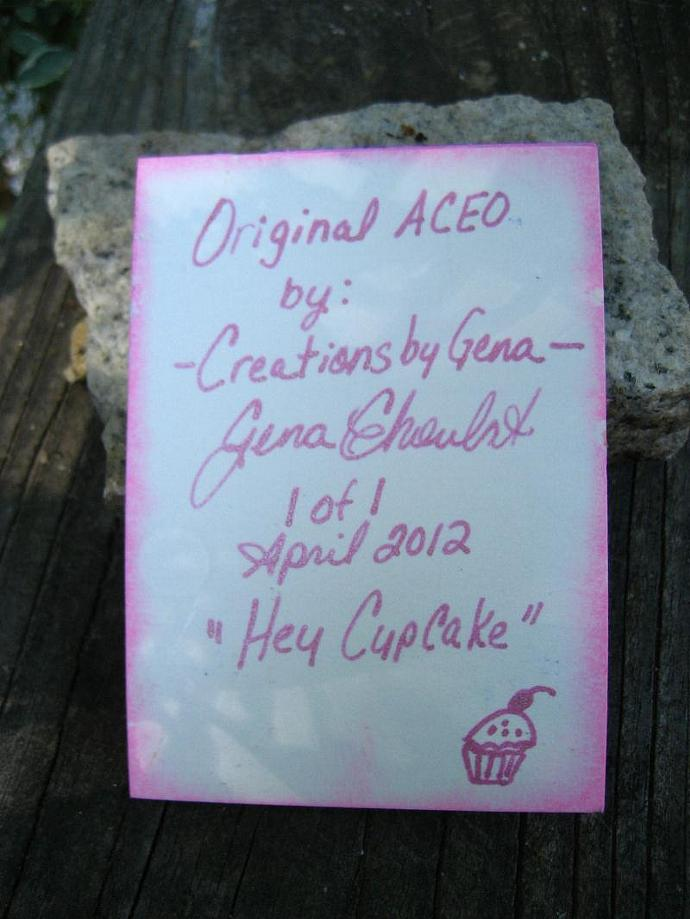 Original ACEO Cupcake girl art card