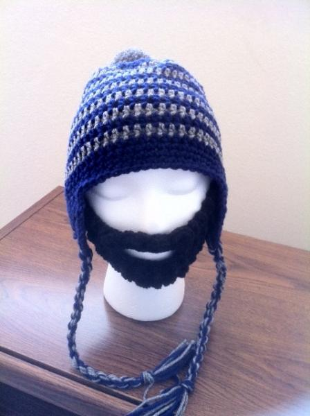 Hand Crochet Earflap Hat Beanie with Detachable Beard Made to Order NEW!