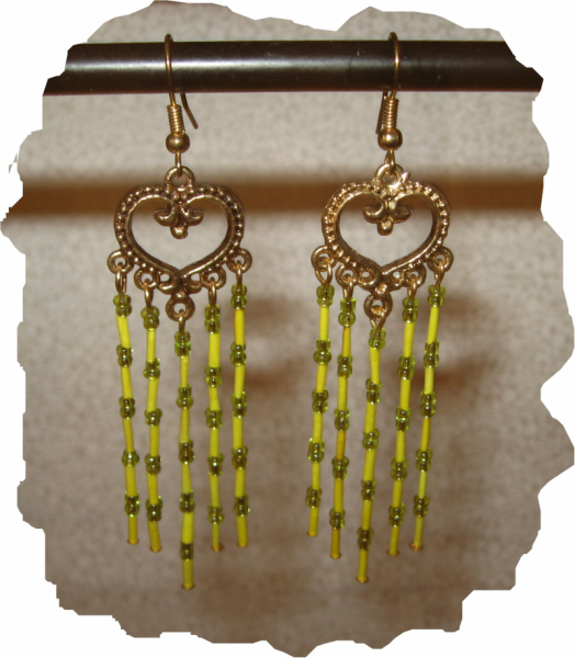 NEW Yellow Porcupine Quill and Glass Bead Earrings