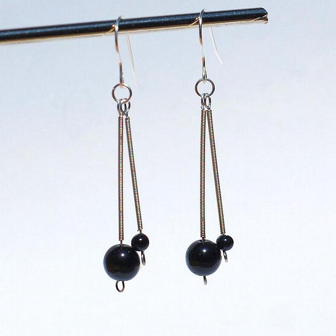 Guitar String Jewelry- Black & Silver Guitar String Upcycled Earrings