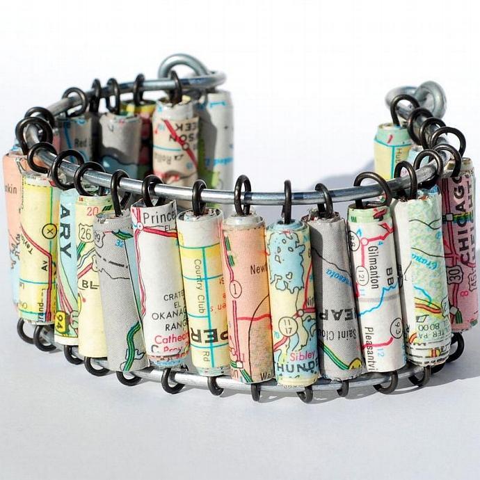 Paper Bead Jewelry- Upcycled U.S. Map Cuff Bracelet