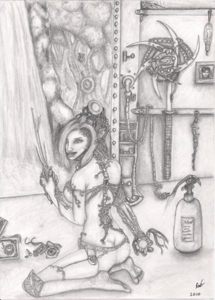 Cyber Mechanik, original illustration, pencil