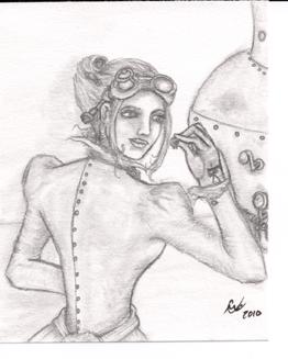 Gear Miss, small drawing, original