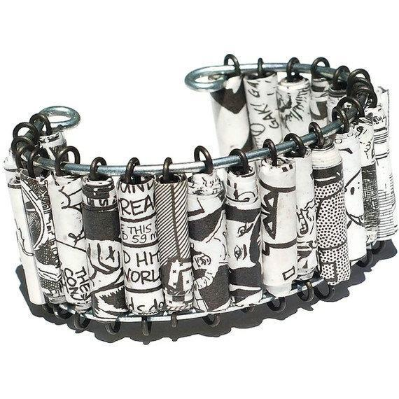 Paper Bead Jewelry- Upcycled Black & White Comic Book Bracelet Cuff