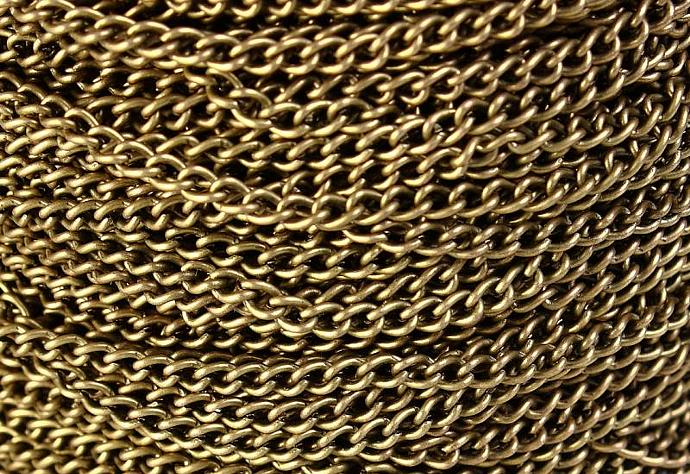 3.7mm x 2.5mm antique brass antique bronze twist chain - 10 feet (548)