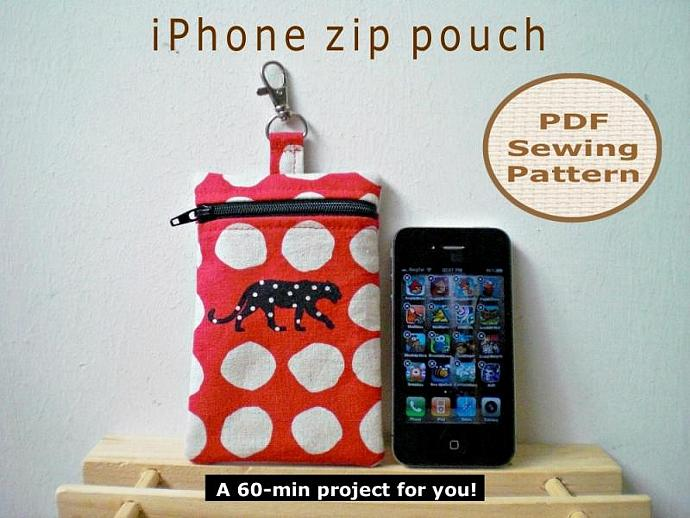 Make a iPhone Zip Pouch in 60-min - PDF Sewing Pattern And Tutorial