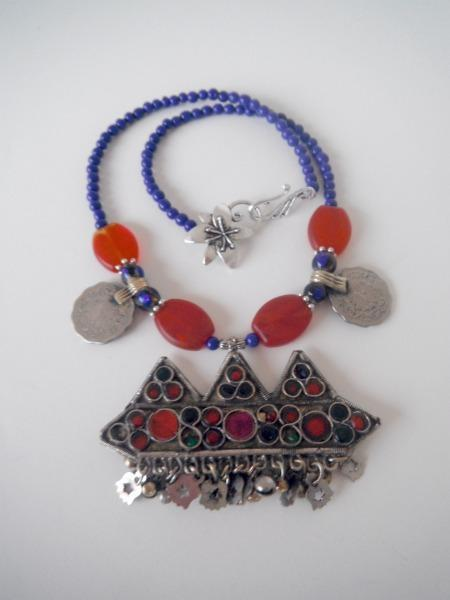 Middle Eastern Red & Blue Necklace with Persian coins