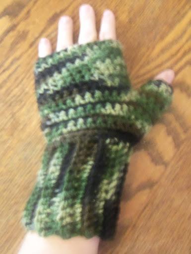 camouflage crochet fingerless mittens