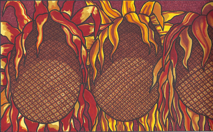 Flaming Sunflowers-print