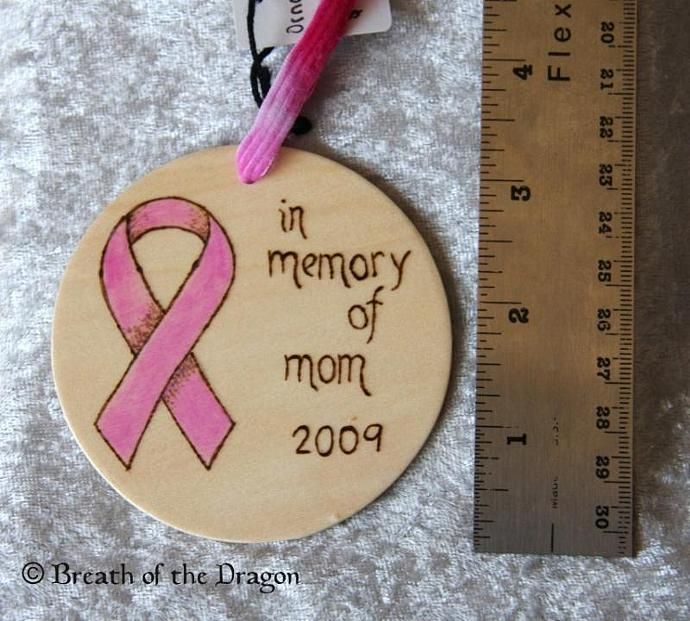 Memorial Pink Ribbon Ornament