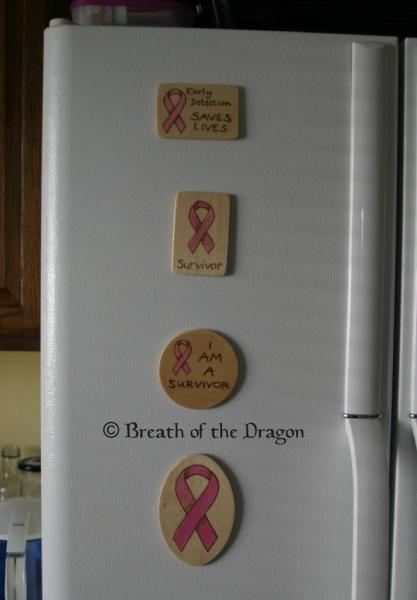 Survivor Pink Ribbon oval magnet
