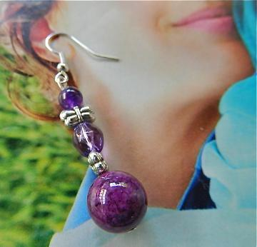 Amethyst    and  bees  dangle  earrings