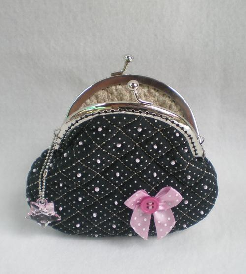 Black Beautiful Quilted Purse With Pink Beads And Bow