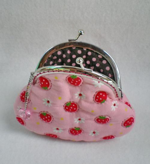 Lovely Strawberry Quilted Pink Purse