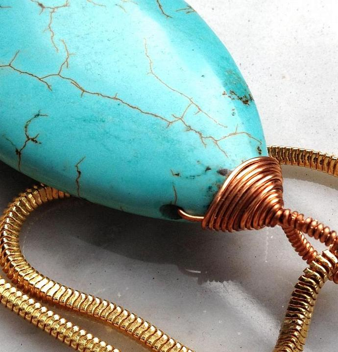 Turquoise Dream Copper Hand-Wrap Pendant with thick goldtone snake chain