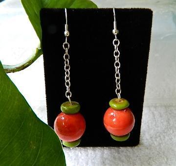 Ceramic  beads  green  turquoise  rondelles  dangle  earrings