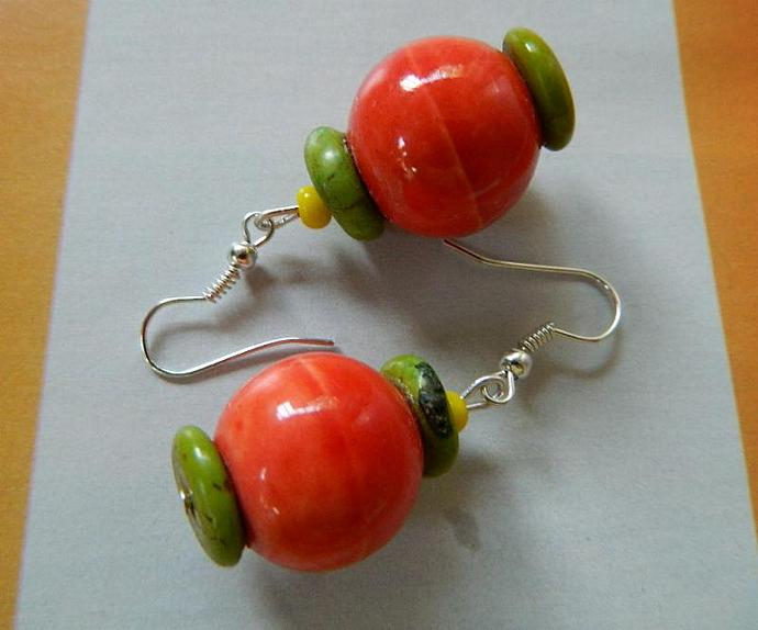 Ceramic  beads with  green  and  yellow  turquoise  earrings