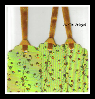 Gold Dot Whimsy on Green  Tags Set of 3