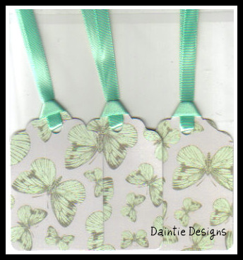 Mint Butterfly Tags Set of 3