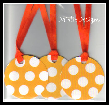 White PolkaDots on Orange Tags Set of 3