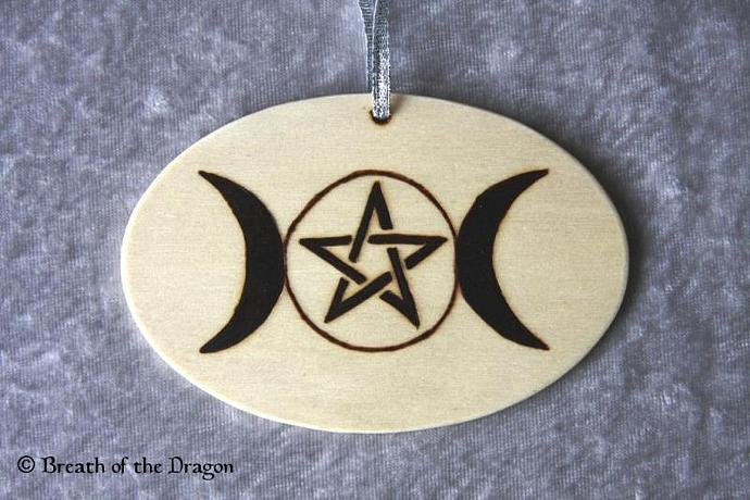 Pentacle and Triple Moon oval ornament