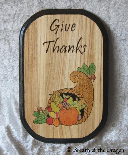 Give Thanks Cornucopia Plaque
