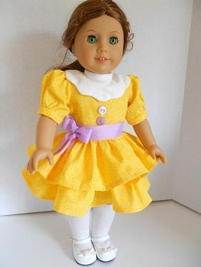 American Girl-Doll Clothes 18 Inch Summer Yellow Dress