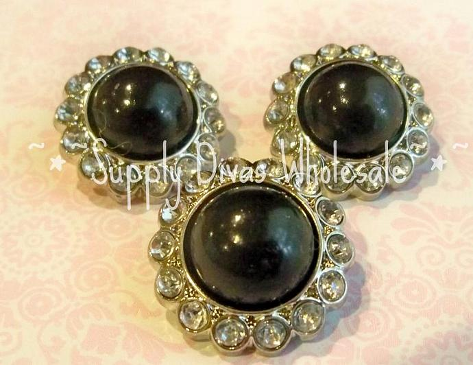 Black Pearl w/clear stones
