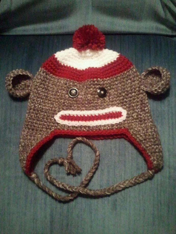 Hand Crocheted Sock Monkey Hat - Adult Size S, M, L, or XL - Custom Colors