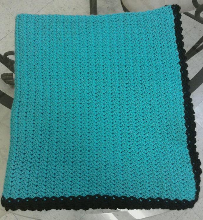 Crocheted Aqua and Black Baby Blanket