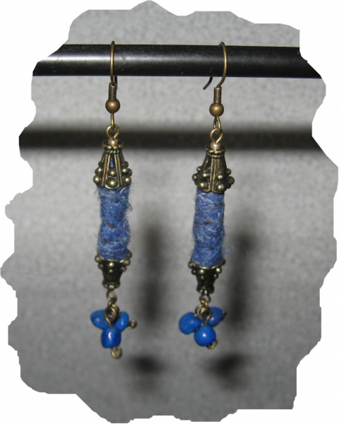 New Antique Gold Blue Fiber Bead, Stone Earrings
