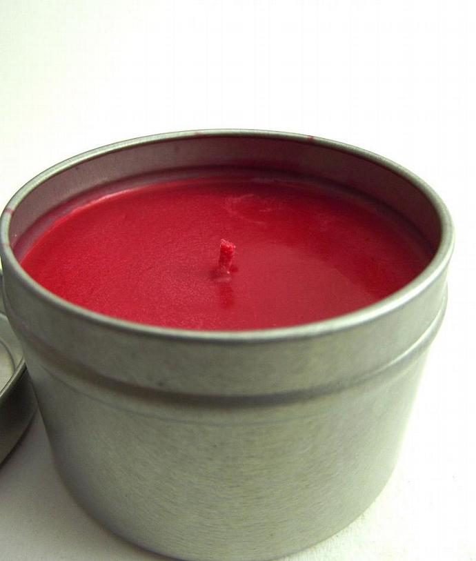 Tin Soy Candle Travel 4 oz Dark Pink Choose Your Scent