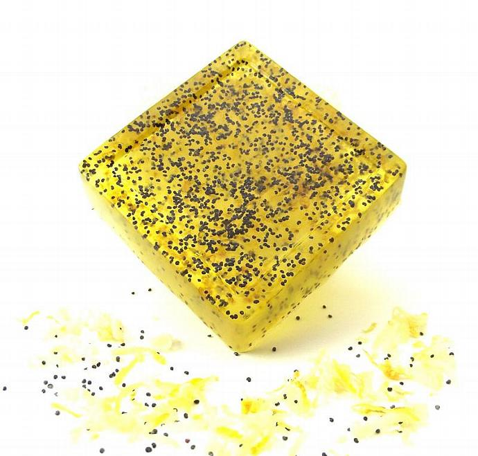 Soap Lemon Poppy Seed - Real Lemon Zest- Aloe Vera Glycerin - 4oz - All Natural