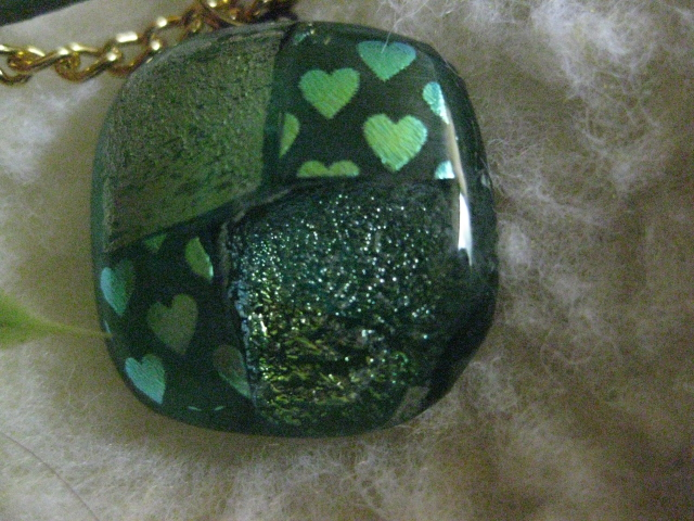 necklace in shades of green