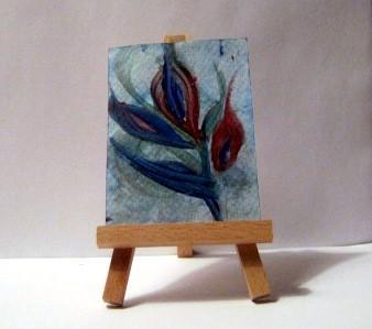 original ACEO - abstract watercolor - small painting - red and blue flowers