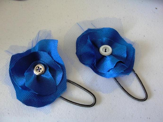Blue Satin Flower Pony-O