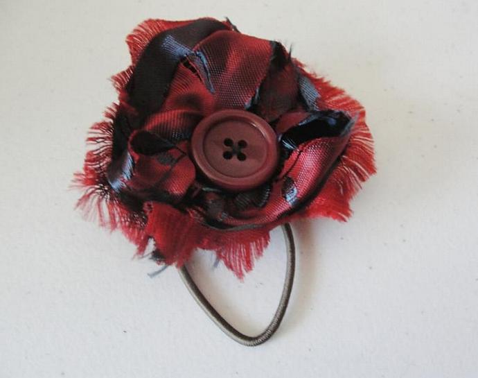 Upcycled Satin Flower Pony-O