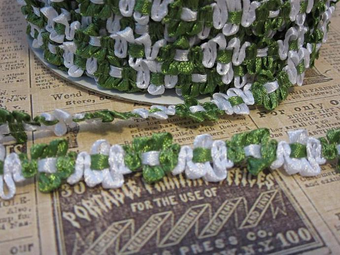 1yd - Green/White  Satin Floral Trim.