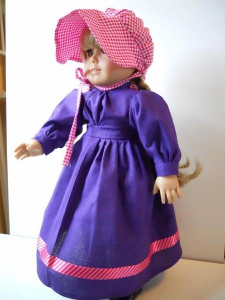 American Girl Doll Clothes 18 Inch Doll Clothing Purple Dress Pink Sunbonnet Set