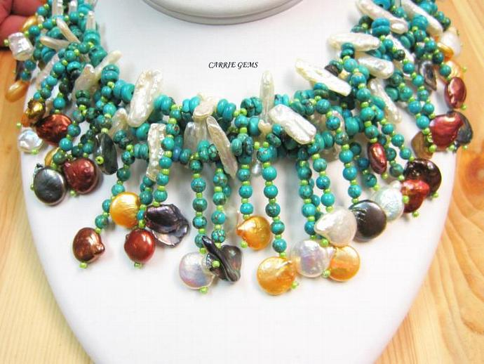 4-Stand Howlite with Freshwater Pearl Necklace