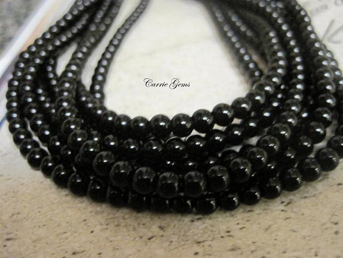 "16"" long (93pcs) Onyx Round 4mm Beads"