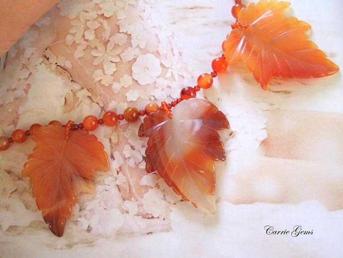 Carnelian Leaf Necklace