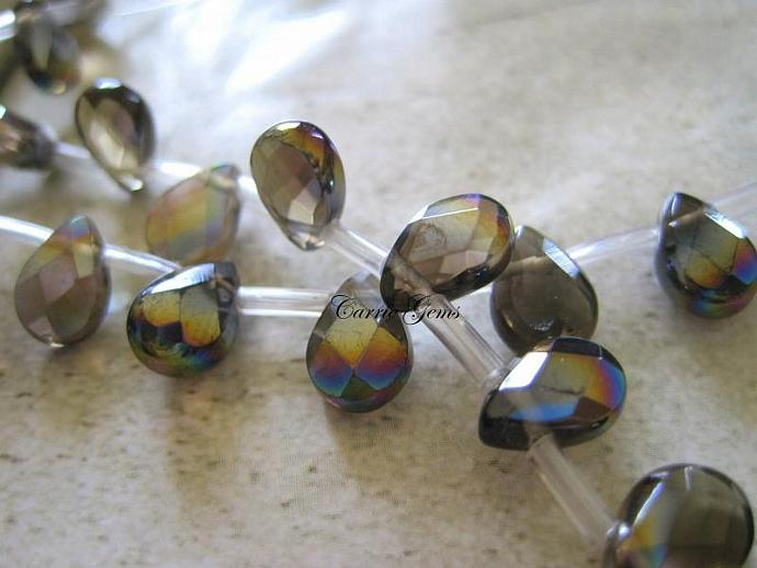Smoky Quartz  Fire Polished Faceted Teardrop 9mmx7mm, 6 pcs