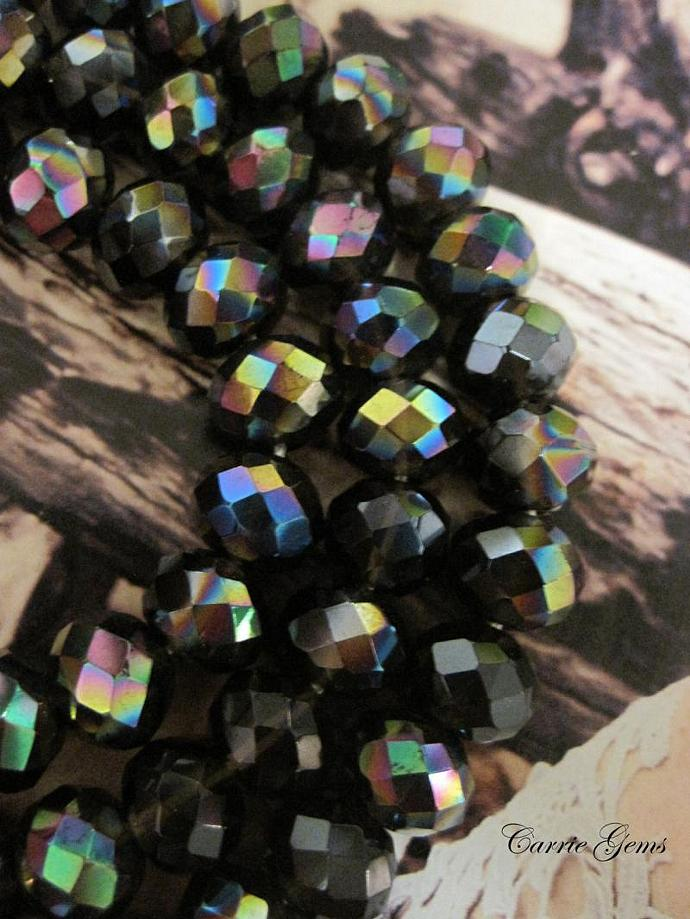 Smoky Quartz  Fire Polished Faceted Rondelle 10mmx8mm, 10 pcs