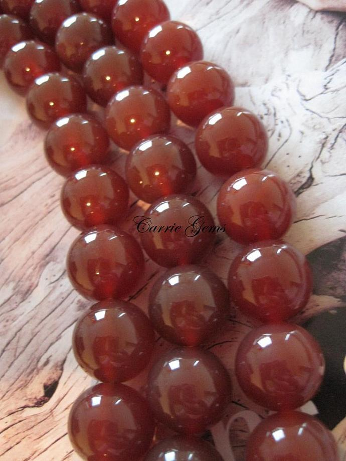 "16"" long (25pcs) Carnelian Round 16mm Beads, B grade"