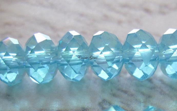 "8"" long (50pcs) Blue Crystal Glass Faceted AB Rondelle 6mmx4mm"